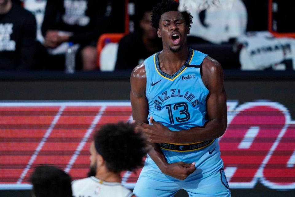 <strong>Memphis Grizzlies' Jaren Jackson Jr. (13) reacts after a play against the San Antonio Spurs during the second half of an NBA basketball game Sunday, Aug. 2, 2020, in Lake Buena Vista, Florida.</strong> (AP Photo/Ashley Landis, Pool)