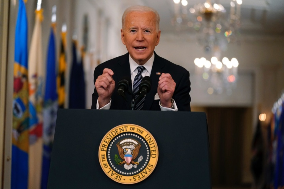 <strong>President Joe Biden speaks about the COVID-19 pandemic during a prime-time address from the East Room of the White House, Thursday, March 11, 2021, in Washington.</strong> (Andrew Harnik/AP)