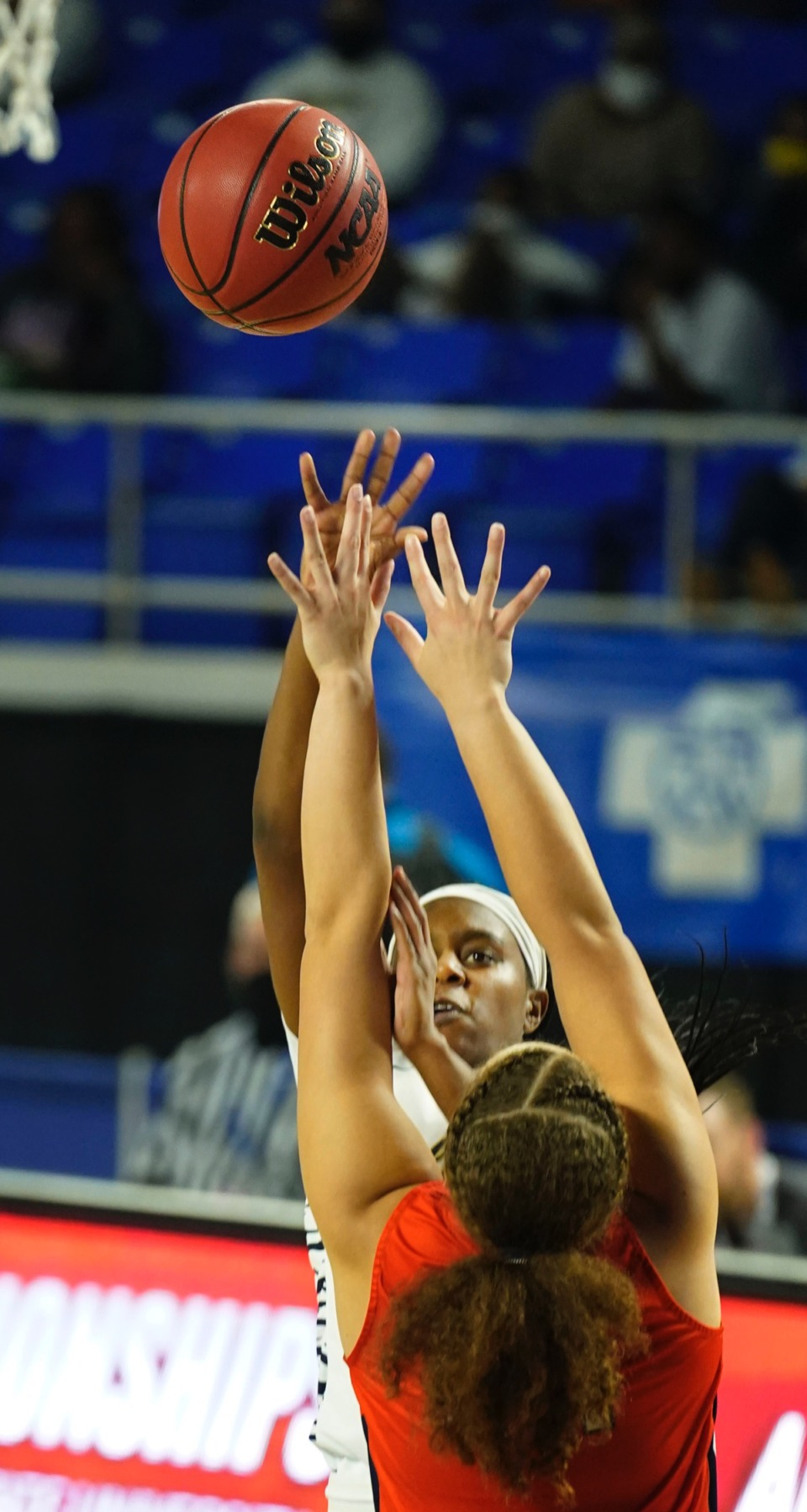 <strong>Arlington&rsquo;s Carmen Taylor (23) shoots over the Blackman defense o</strong><strong>n March 11 in Murfreesboro, Tennessee.&nbsp;</strong>(Larry McCormack/Special to The Daily Memphian.)