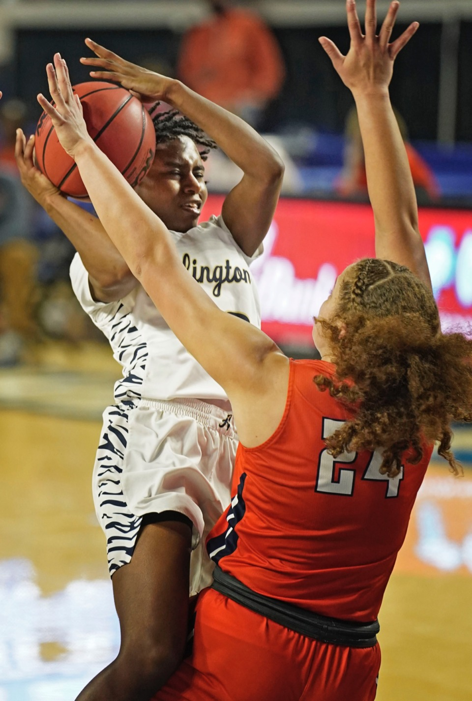 <strong>Carmen Taylor (23) tries to shoot over Blackman&rsquo;s Kaylee Odom (24)&nbsp;on March 11 in Murfreesboro, Tennessee.&nbsp;</strong>(Larry McCormack/Special to The Daily Memphian.)