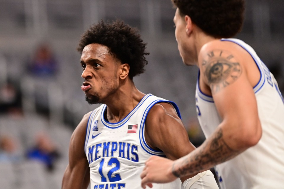 <strong>Deandre Williams (12) reacts to a play as the University of Memphis plays the University of Central Florida on March 12, 2021.</strong> (Courtesy American Athletic Conference/Ben Solomon)