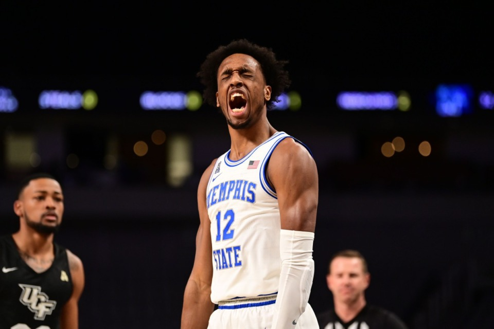 <strong>U of M&rsquo;s Deandre Williams (12) expresses his frustration as the Tigers battle the University of Central Florida on March 12, 2021.</strong> (Courtesy American Athletic Conference/Ben Solomon)