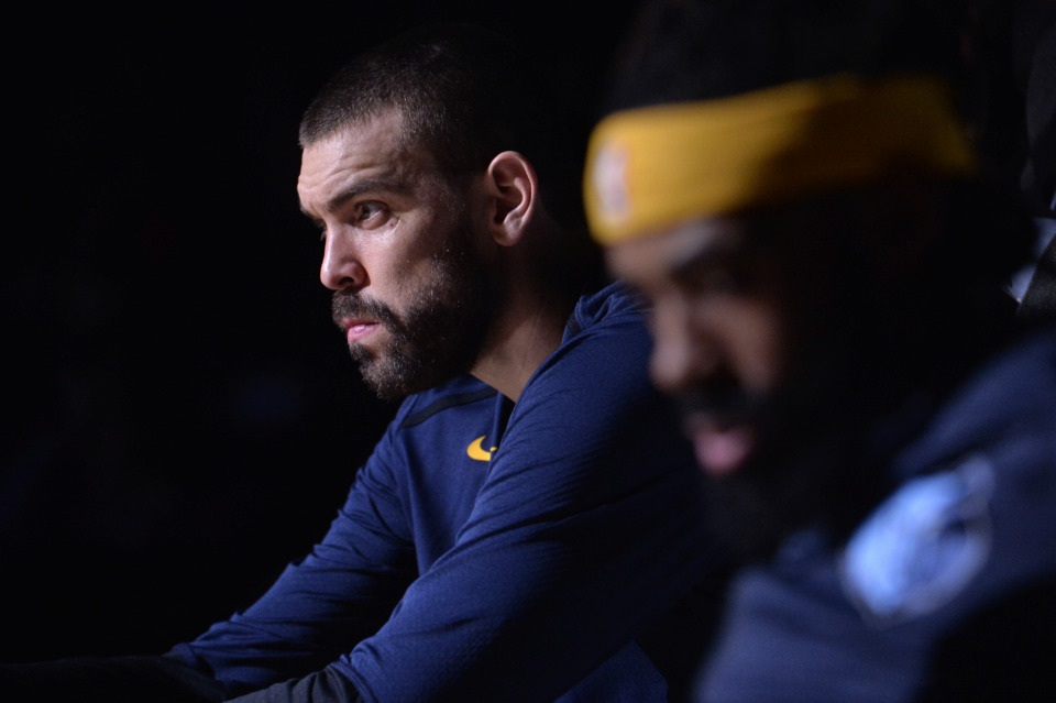 <span><strong>Memphis Grizzlies center Marc Gasol (left) and guard Mike Conley sit on the bench before an NBA basketball game against the Brooklyn Nets on Friday, Jan. 4, 2019, in Memphis.</strong> (Brandon Dill/Associated Press)</span>