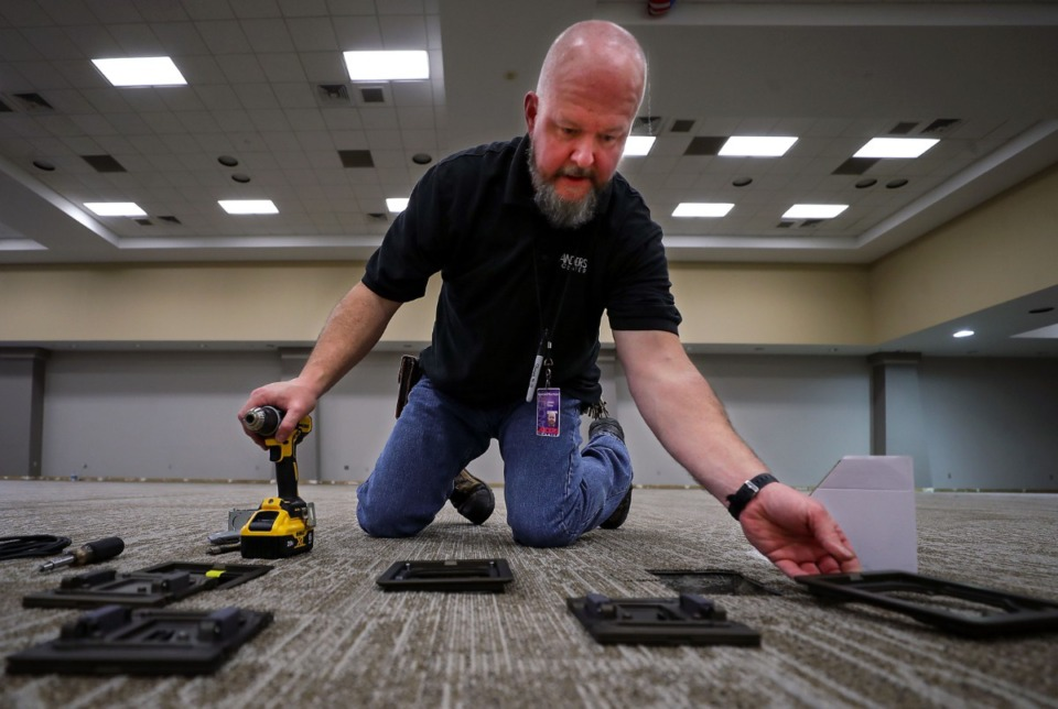 <strong>Landers Center employee James Stone worked Thursday, March 11, to get the DeSoto County concert venue ready to reopen.</strong> (Patrick Lantrip/Daily Memphian)