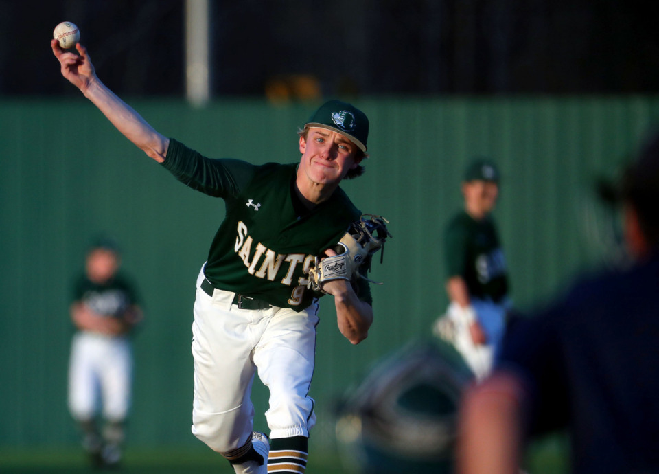 <strong>Briarcrest pitcher Mick Arney throws a pitch during a March 15, 2021 game against Collierville.</strong>(Patrick Lantrip/Daily Memphian)