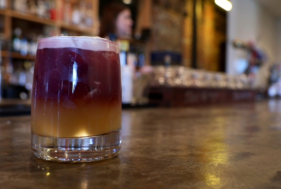 <strong>A New York Sour, as made by Party Memphis beverage director Mary Oglesby, is similar to a regular whiskey sour but topped with wine.</strong> (Patrick Lantrip/Daily Memphian)