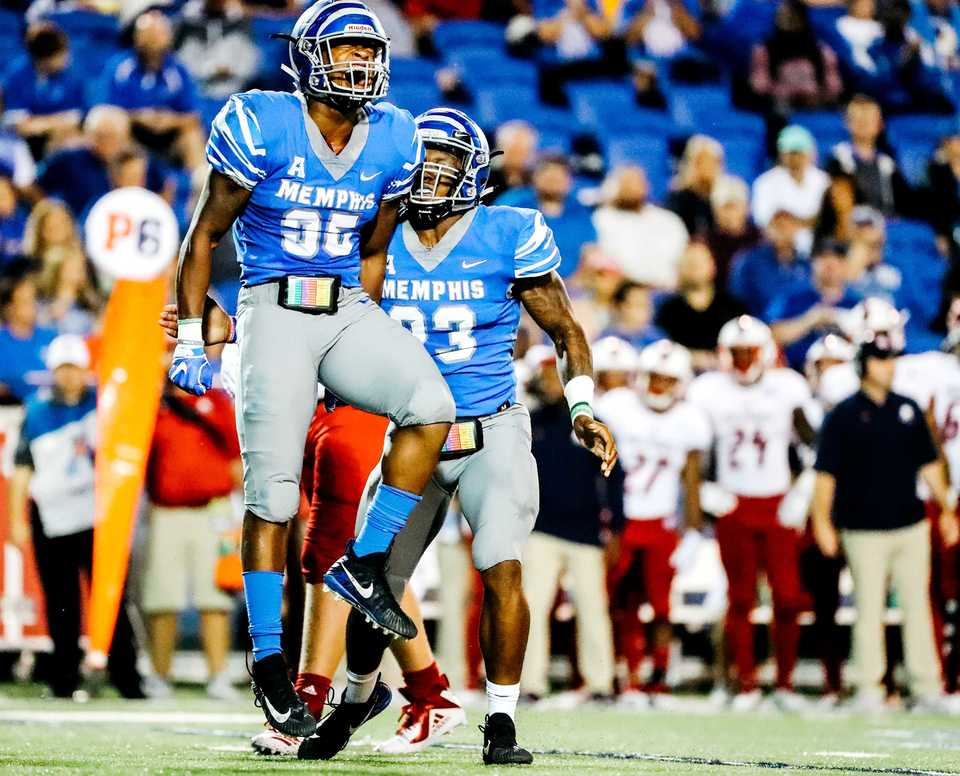 <strong>University of Memphis linebacker Tim Hart celebrates after tackling South Alabama's quarterback for a loss on the play during the Saturday, Sept. 22, 2018, matchup at Liberty Bowl Memorial Stadium in Memphis.</strong> (Houston Cofield/Daily Memphian)