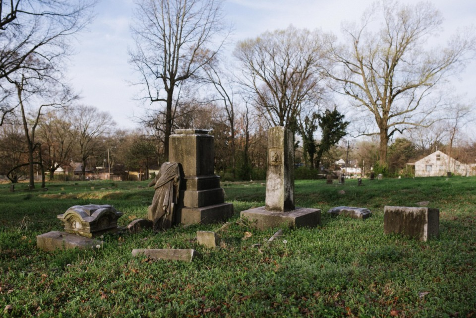 <strong>Gravestones and sculptural fragments in Zion Christian Cemetery. Tuesday, March 16, 2021.</strong> (Lucy Garrett/Special to the Daily Memphian)