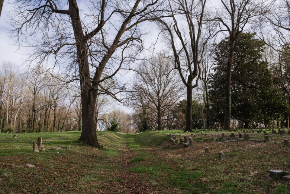 <strong>The road through Zion Christian Cemetery Tuesday, March 16, 2021.</strong> (Lucy Garrett/Special to the Daily Memphian)