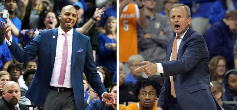 <strong>University of Memphis coach Penny Hardaway and University of Tennessee coach Rick Barnes react to calls during the teams' Dec. 15, 2018, game at FedExForum.&nbsp;Barnes accused the Tigers of flopping after Tennessee defeated Memphis, which drew heavy criticism from Hardaway.</strong> (Karen Pulfer Focht/Daily Memphian file)