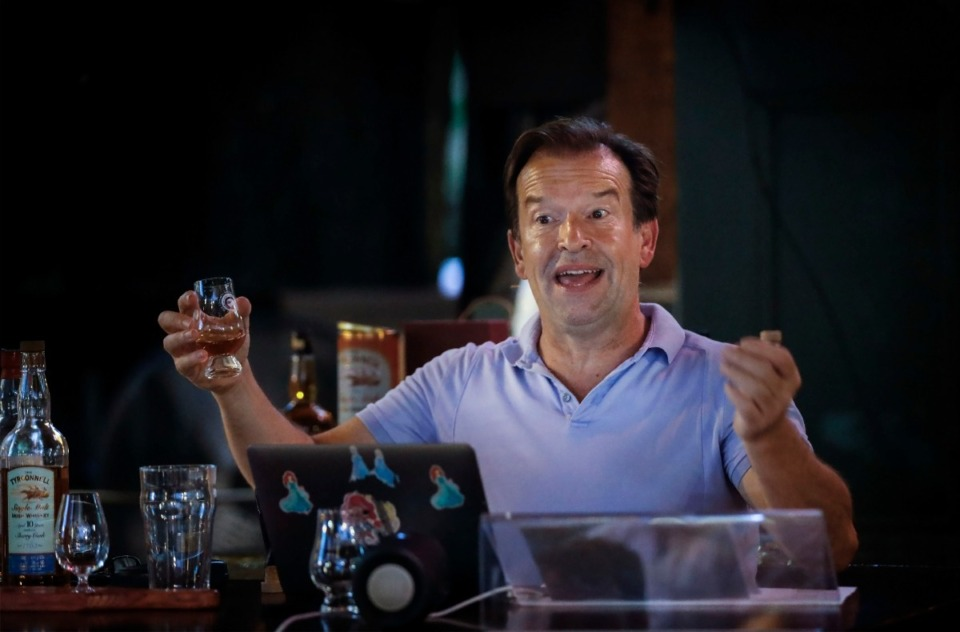 <strong>DJ Naylor, owner of Celtic Crossing Irish Pub &amp; Restaurant, leads a whiskey tasting Sept. 3, 2020.</strong> (Mark Weber/Daily Memphian file)