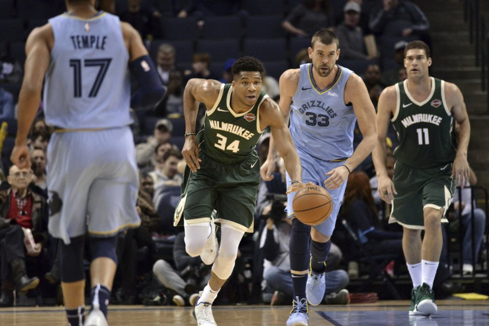 <span><strong>Milwaukee Bucks forward Giannis Antetokounmpo (34) brings the ball up the court ahead of Memphis Grizzlies center Marc Gasol (33) and Bucks center Brook Lopez (11) Wednesday, Jan. 16, 2019, at FedExForum.</strong> (AP Photo/Brandon Dill)</span>