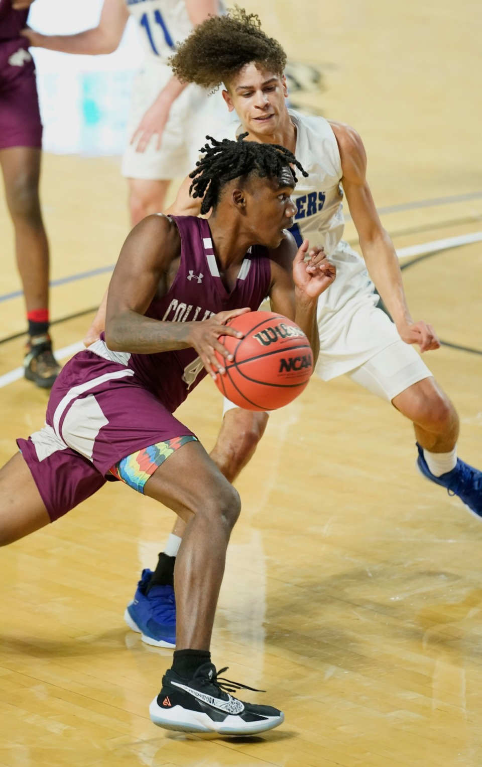 <strong>Collierville's Jordan Jenkins (4) charges the basket as Cleveland plays the Dragons at the Division I Class AAA quarterfinal game on March 18, 2021, in Murfreesboro, Tennessee.</strong> (Larry McCormack/Special to The Daily Memphian)