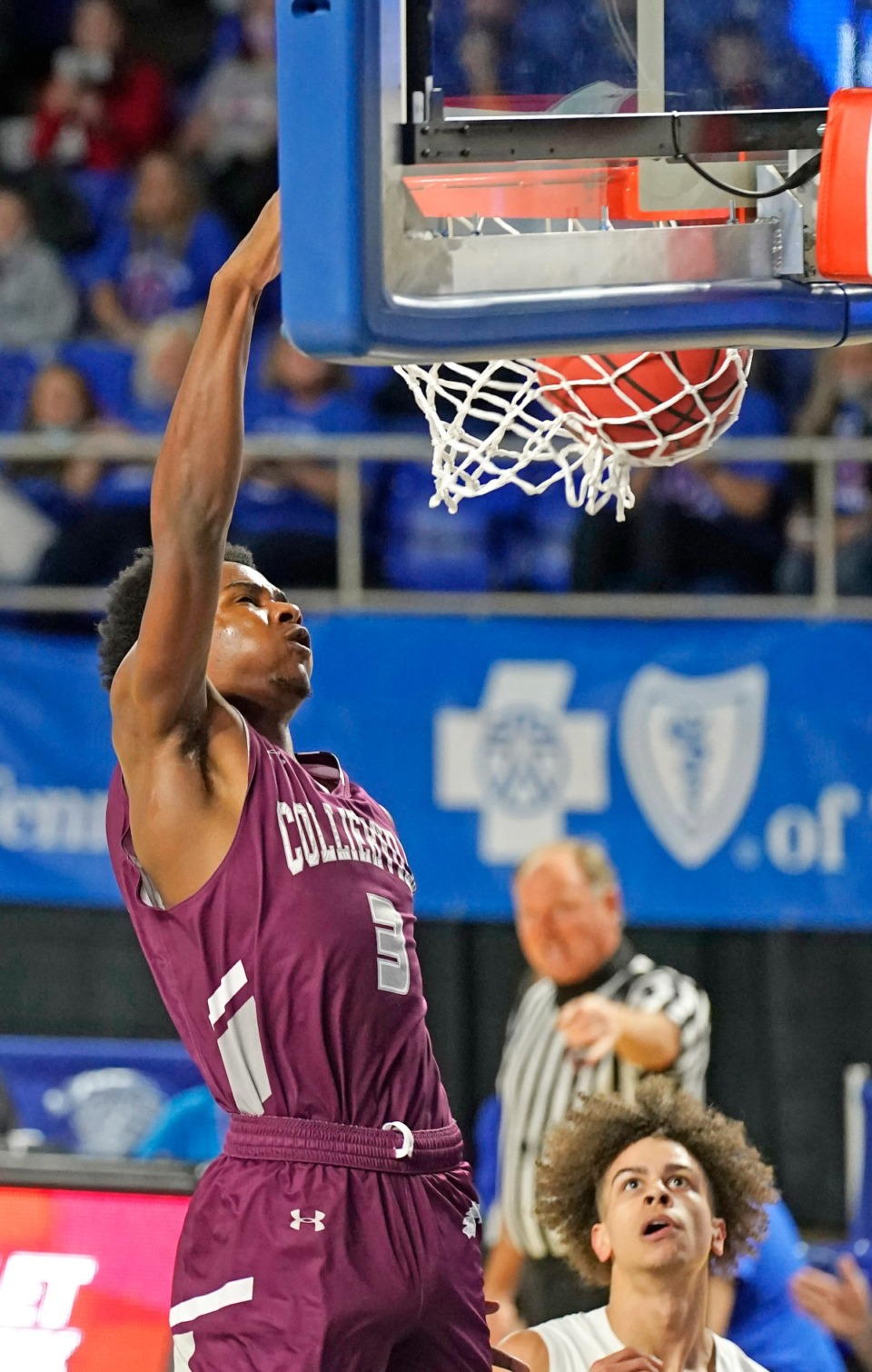 <strong>Collierville's Davon Barnes (3) dunks against Cleveland&nbsp;at the Division I Class AAA quarterfinal game on March 18, 2021, in Murfreesboro, Tennessee.</strong> (Larry McCormack/Special to The Daily Memphian)