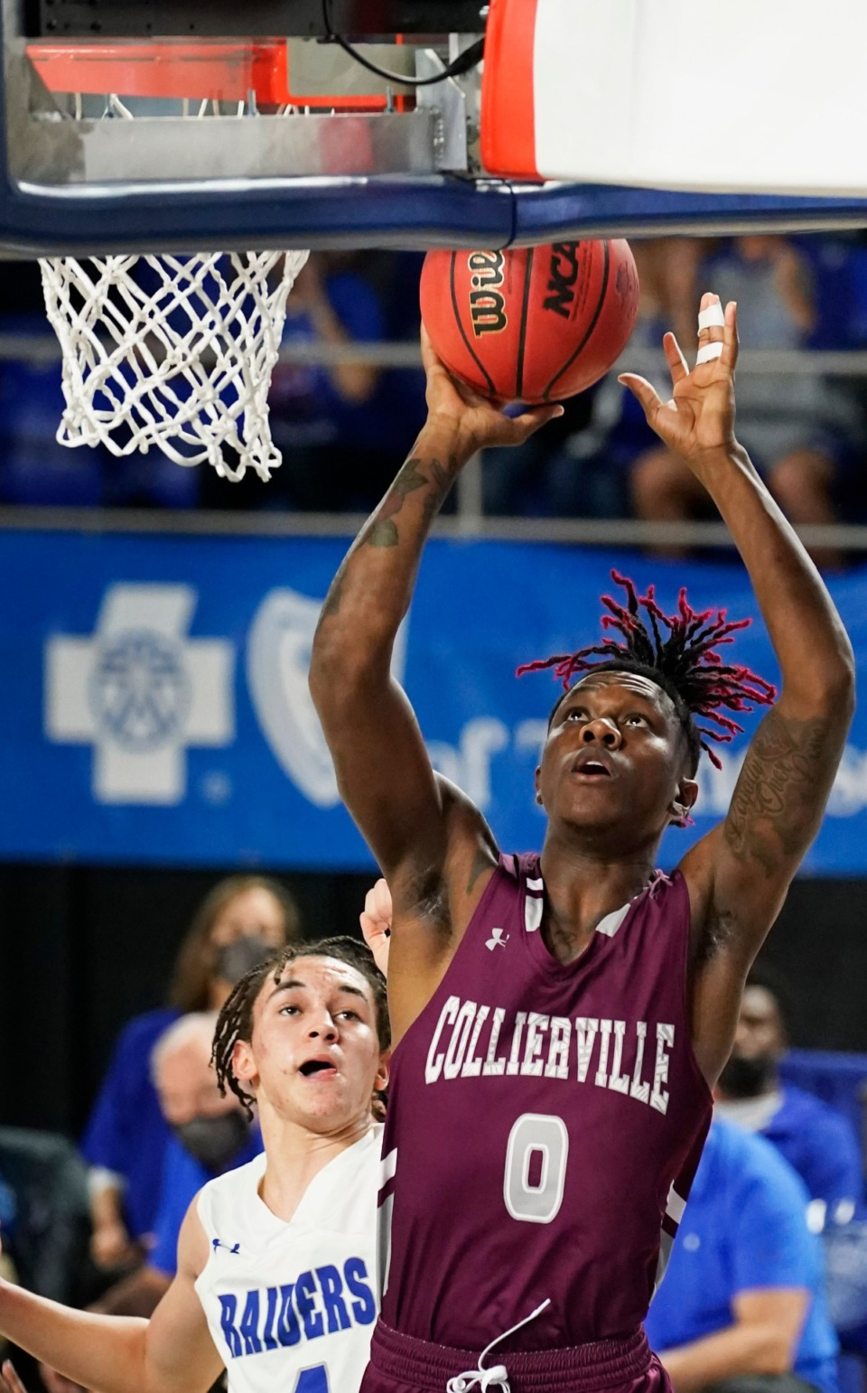 <strong>Collierville's Antonio Bates (0) take a shot agsinst Cleveland&nbsp;at the Division I Class AAA quarterfinal game on March 18, 2021, in Murfreesboro, Tennessee.</strong> (Larry McCormack/Special to The Daily Memphian)