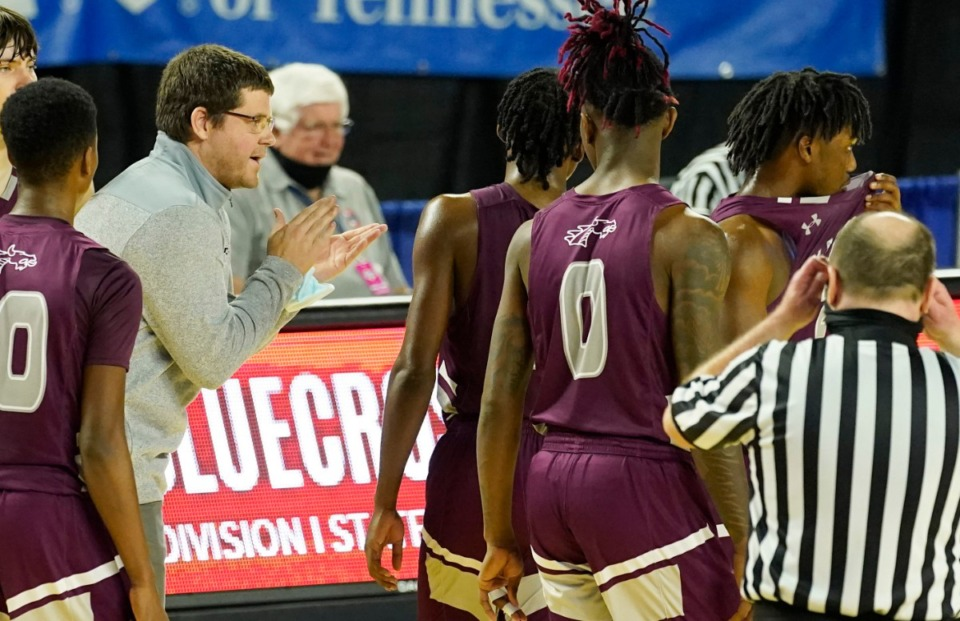 <strong>Collierville head coach Scott Robinson encourages his players in the game against Cleveland</strong>&nbsp;<strong>at the Division I Class AAA quarterfinal game on March 18, 2021, in Murfreesboro, Tennessee.</strong> (Larry McCormack/Special to The Daily Memphian)