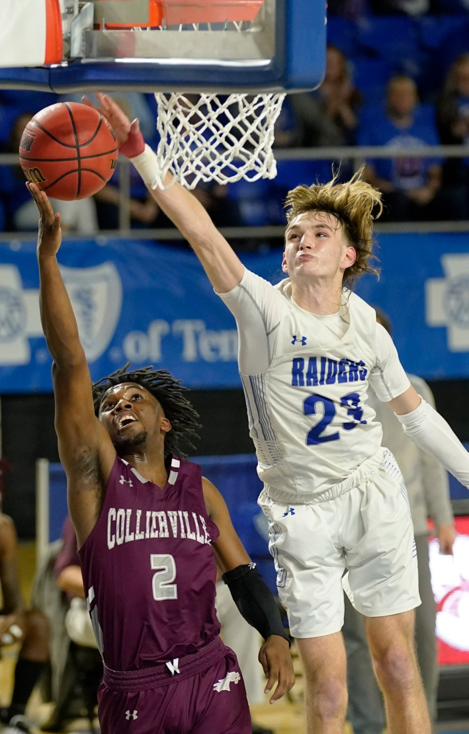<strong>Cleveland's Kley McGowan (23) blocks Collierville's Jordan Coleman (2) as Cleveland plays Collierville at the Division I Class AAA quarterfinal game on March 18, 2021, in Murfreesboro, Tennessee.</strong> (Larry McCormack/Special to The Daily Memphian)