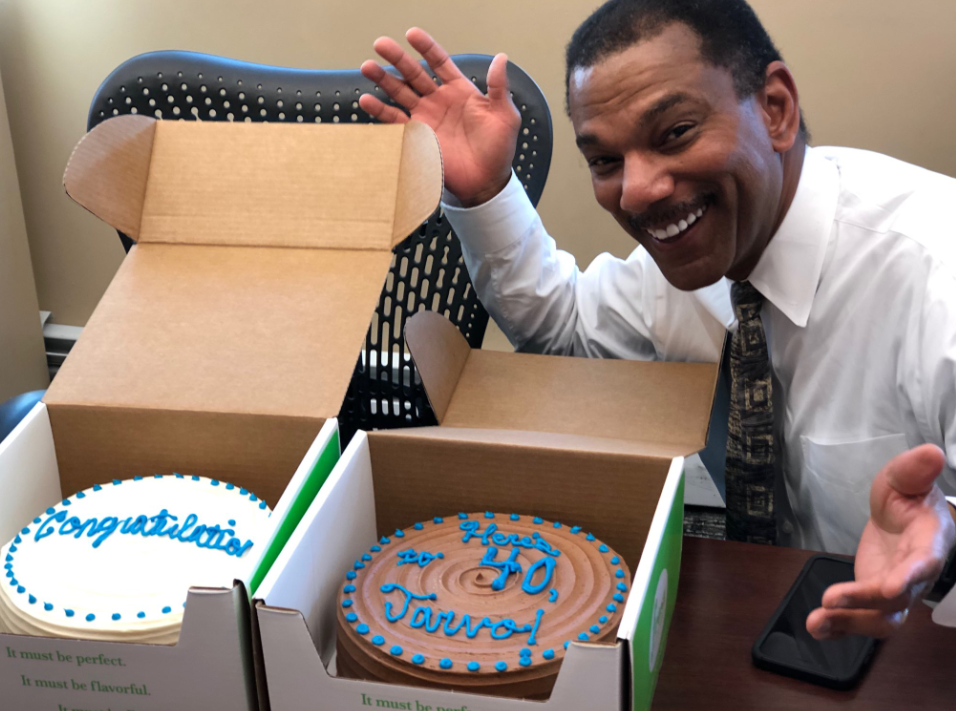 <strong>WMC-TV sports director Jarvis Greer celebrates 40 years at the station in 2019. Greer recently had surgery for prostate cancer, and it&rsquo;s not at all pretty.&nbsp;</strong>(Photo courtesy of Kontji Anthony)