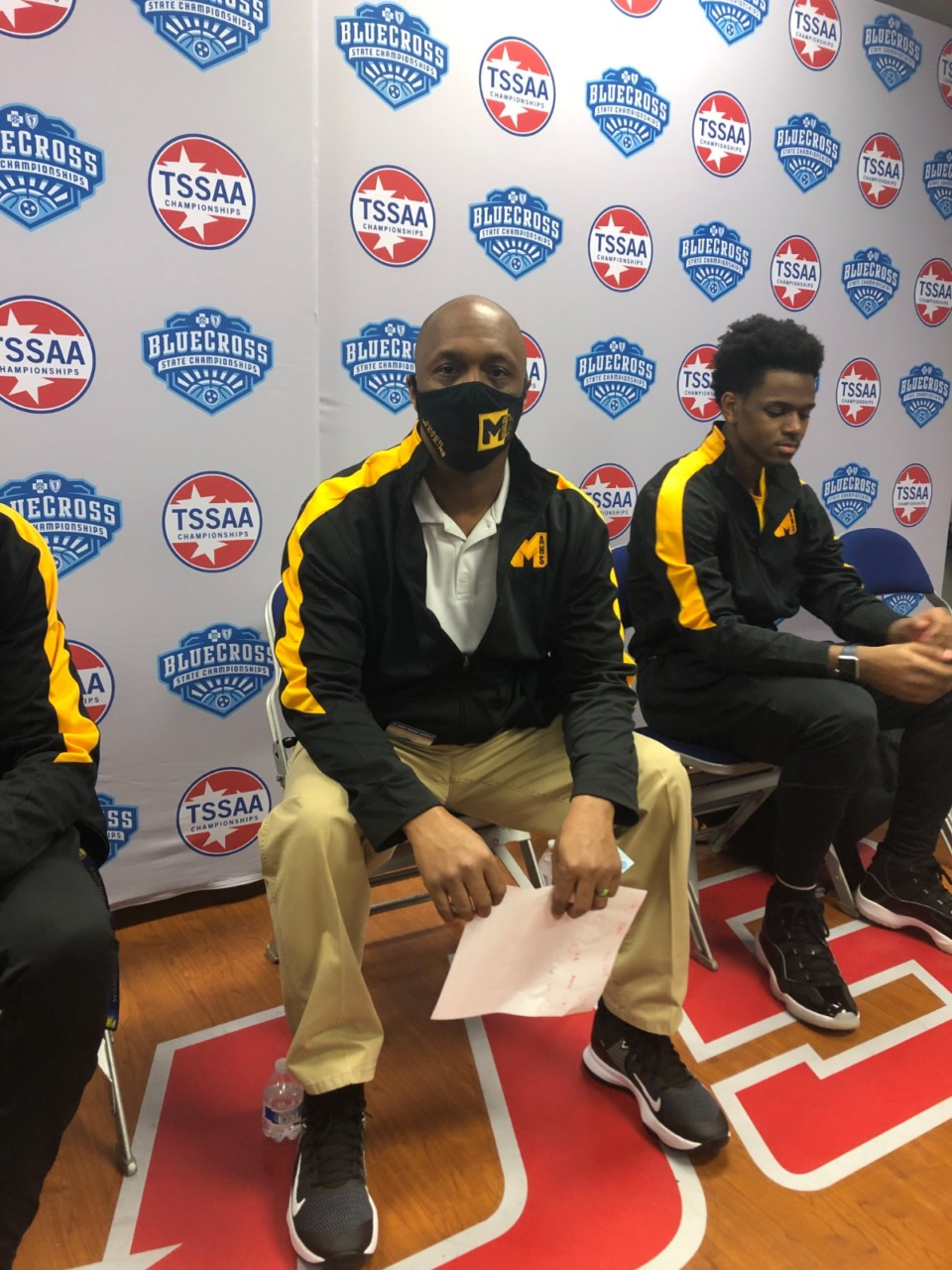 <strong>MAHS coach Vernard Watkins (center) has guided the school into its&nbsp;first championship game &mdash; in any sport &mdash; since it opened in 2003.</strong> (John Varlas/Daily Memphian)