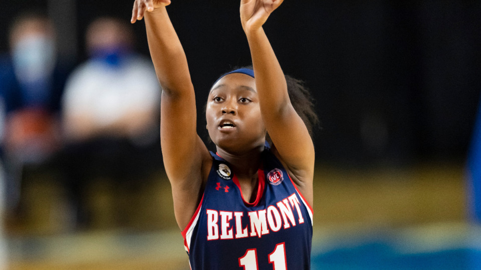 <strong>Belmont guard Destinee Wells shoots against Middle Tennessee State during an NCAA basketball game on Sunday, Dec. 6, 2020, in Murfreesboro, Tennessee.</strong> (AP Photo/John Amis file)