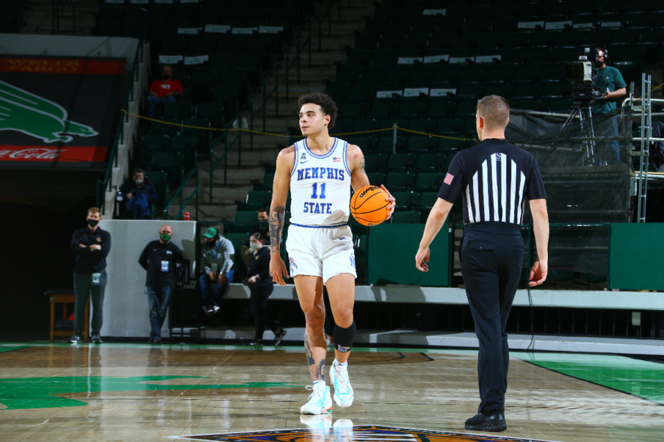<strong>Memphis guard Lester Quinones scored 15 points and added 10 rebounds to help the Tigers to a 71-60 NIT first-round victory over Dayton, Saturday, March 20, in Denton, Texas.</strong> (Photo courtesy of the NCAA)