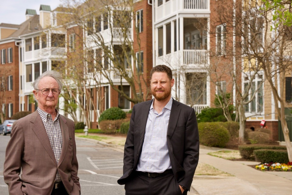 <strong>Henry Turley (left) and nephew Alex Turley, founder and chief executive, respectively, of Henry Turley Co., are partnering with Archie Willis of ComCap Partners to build Orleans Station on the campus of the University of Tennessee Health Science Center.</strong> (Tom Bailey/Daily Memphian)