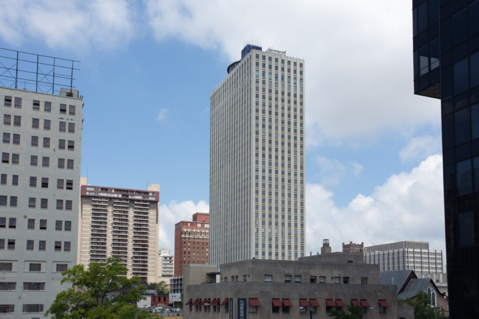 <strong>The County Commission has approved the sale of the 100 N. Main building, center, to the city of Memphis.</strong> (Daily Memphian file)
