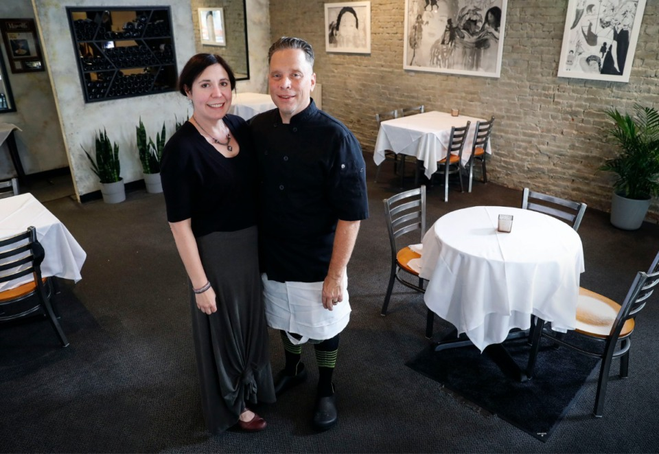 <strong>Bari Ristorante owners Rebecca and Jason Severs (in the dining room of their Italian restaurant on Aug. 11, 2020) are relocating their Overton Square restaurant to a location a few blocks south, to the former Midtown Yoga building.</strong> <strong>&ldquo;June is what we&rsquo;re planning for right now, certainly what we&rsquo;re hoping for,&rdquo; said Rebecca Severs.</strong> (Mark Weber/Daily Memphian file)