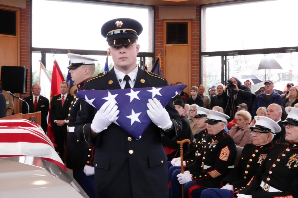 <strong>Hundreds attend a ceremony on Thursday, Jan. 17, 2019, to pay their respects to three Memphis veterans who died in the fall of 2018 but whose remains were unclaimed by next of kin. Wesley Russell, Arnold Klechka and Charles Fox were buried with honors at the West Tennessee Veterans Cemetery.</strong> (Karen Pulfer Focht/Special to The Daily Memphian)