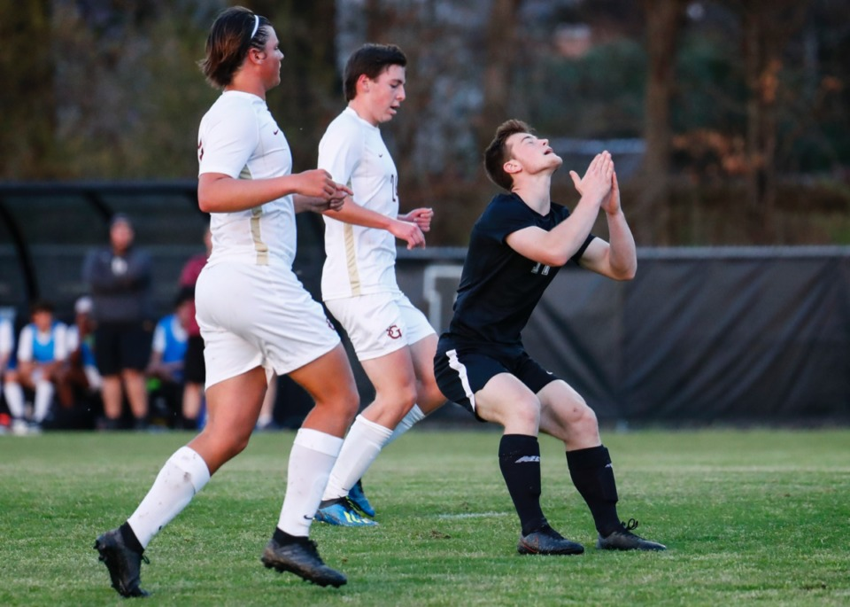 <strong>Houston forward Zack Page (right) reacts after missing a shot on goal against St. George&rsquo;s on Tuesday, March 23, 2021.</strong> (Mark Weber/The Daily Memphian)