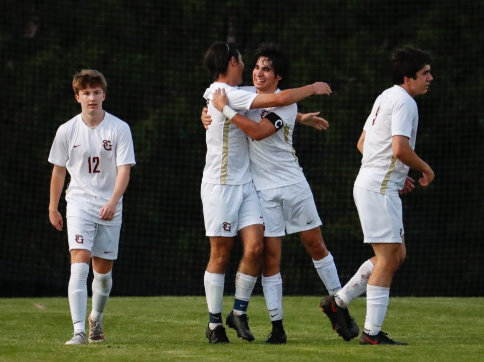 <strong>St. George&rsquo;s forward Luis Higareda (middle right) celebrates a goal against Houston with teammate Diego Guerra (middle left) on Tuesday, March 23, 2021.</strong> (Mark Weber/The Daily Memphian)