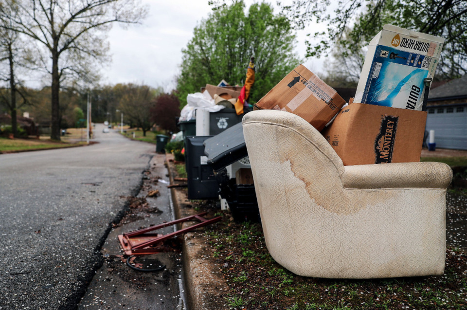 <strong>A growing pile of trash sits in the elements along Cordova Road March 23, 2021.</strong> <strong>Terminating the city&rsquo;s contract with Waste Pro USA appears to be a pretty straightforward process.</strong> (Patrick Lantrip/Daily Memphian)