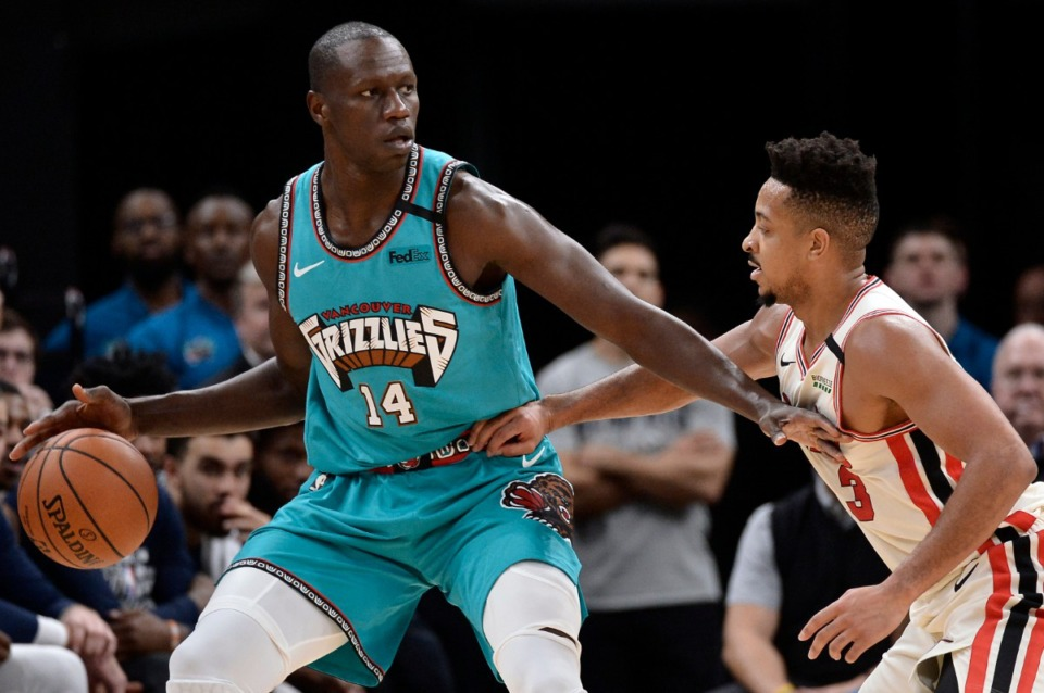 <strong>Memphis Grizzlies center Gorgui Dieng (14) (in a Feb. 12, 2020 game against the Portland Trail Blazers)&nbsp; has not been in rotation for over a month.</strong> (Brandon Dill/AP file)