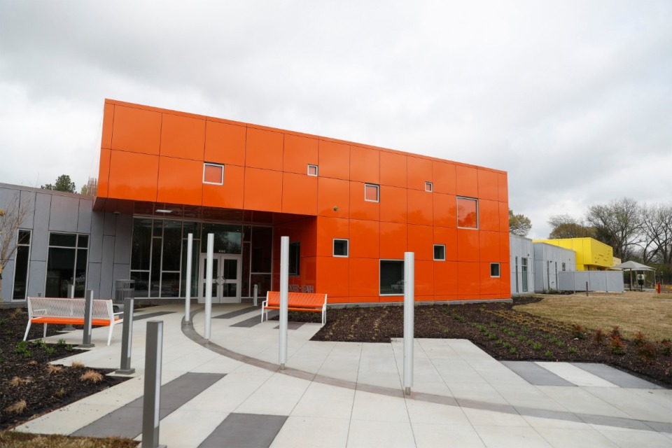 <strong>Porter-Leath&rsquo;s new $10 million Early Childhood Academy gleams under gray skies in Frayser on March 25.</strong> (Mark Weber/The Daily Memphian file)