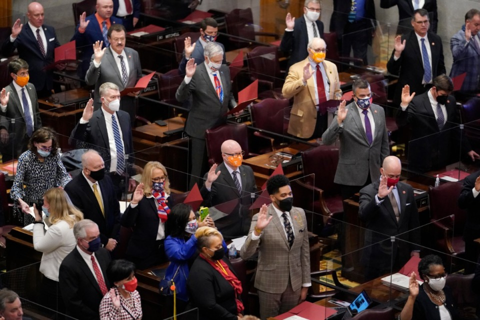 <strong>The Tennessee House of Representatives are sworn in on the first day of the legislative session Tuesday, Jan. 12, 2021, in Nashville.</strong> (Mark Humphrey/AP file)