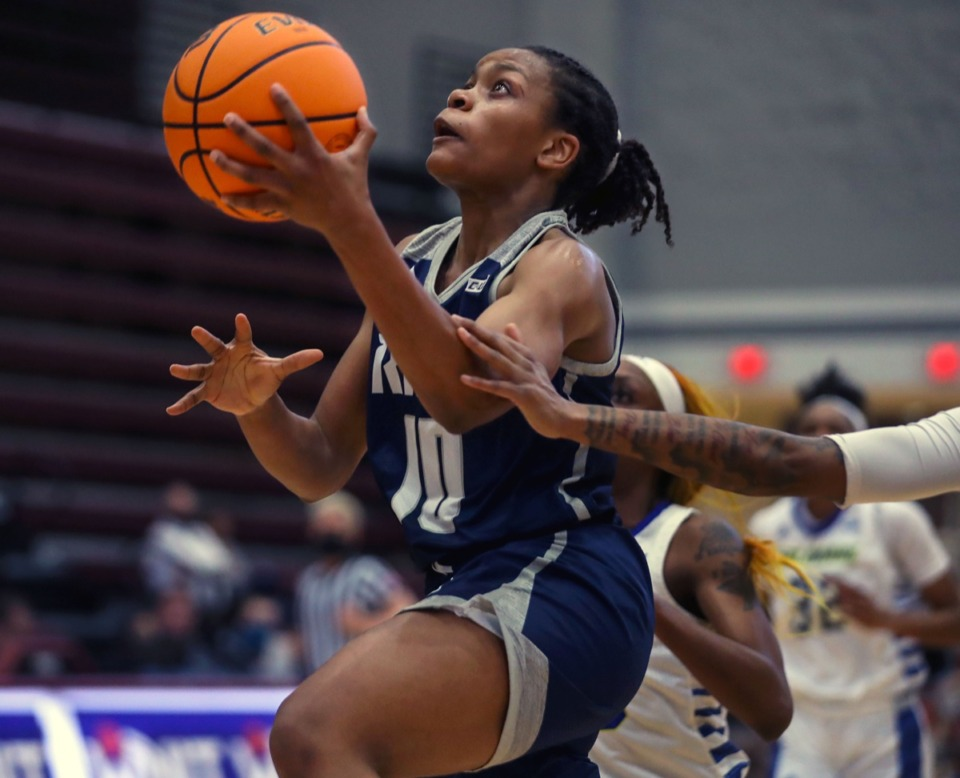 <strong>Rice University guard Jasmine Smith (10) goes for a layup during a Women&rsquo;s National Invitational Tournament game against the University of Delaware at Collierville High School 0n March 26.</strong> (Patrick Lantrip/Daily Memphian)