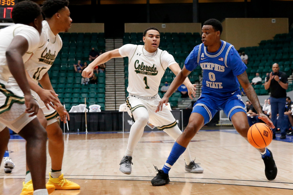 <strong>Memphis forward D.J. Jeffries looks to make a move against Colorado State in the NIT semifinals Saturday, March 27, in Frisco, Texas.</strong> (Photo courtesy of the NCAA)
