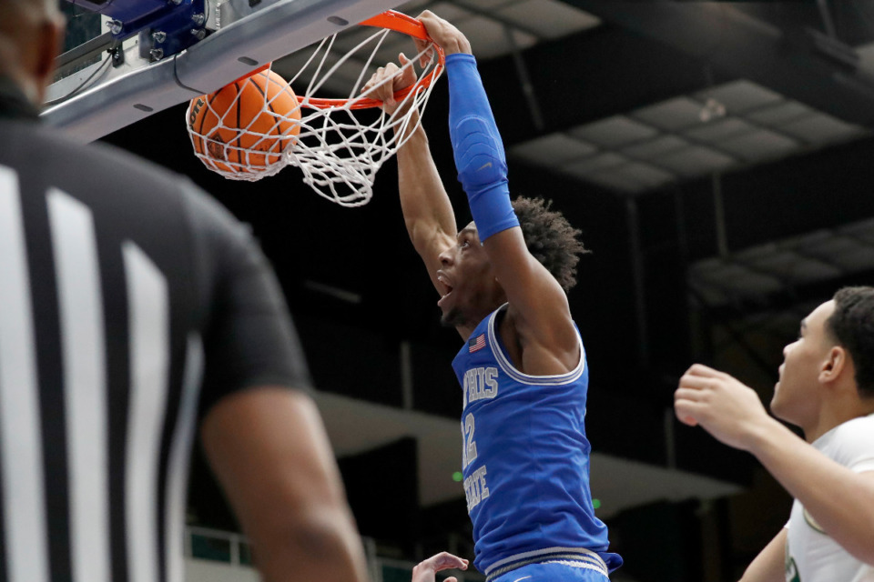 <strong>Memphis forward DeAndre Williams slam dunks against Colorado State in the NIT semifinals Saturday, March 27, in Frisco, Texas.</strong> (Photo courtesy of the NCAA)