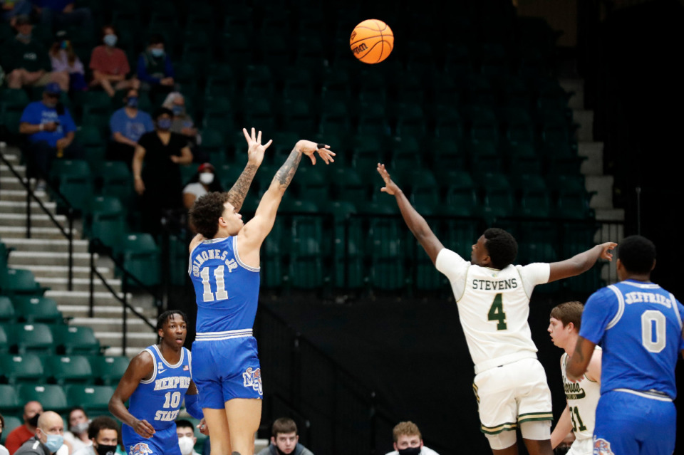 <strong>Memphis guard Lester Quinones shoots a jump shot against Colorado State in the NIT semifinals Saturday, March 27, in Frisco, Texas.</strong> (Photo courtesy of the NCAA)