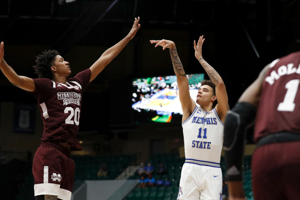 <strong>Memphis guard Lester Quinones shoots a jump shot against Mississippi State during Sunday&rsquo;s NIT championship game in Frisco, Texas.</strong> (Photo courtesy of the NCAA)