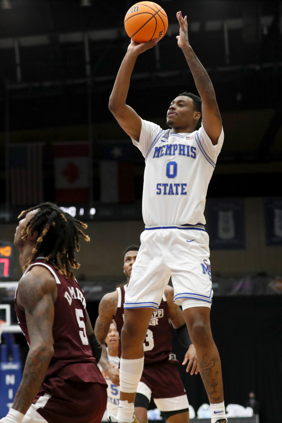 <strong>Memphis forward D.J. Jeffries shoots a jump shot during Sunday&rsquo;s NIT championship game in Frisco, Texas.</strong> (Photo courtesy of the NCAA)