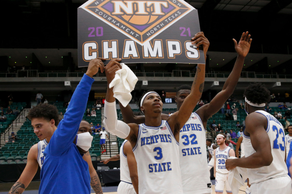 <strong>Landers Nolley II (3) and the Memphis Tigers celebrate winning the NIT championship after Memphis defeated Mississippi State, 77-64, Sunday, March 28, in Frisco, Texas.</strong> (Photo courtesy of the NCAA)