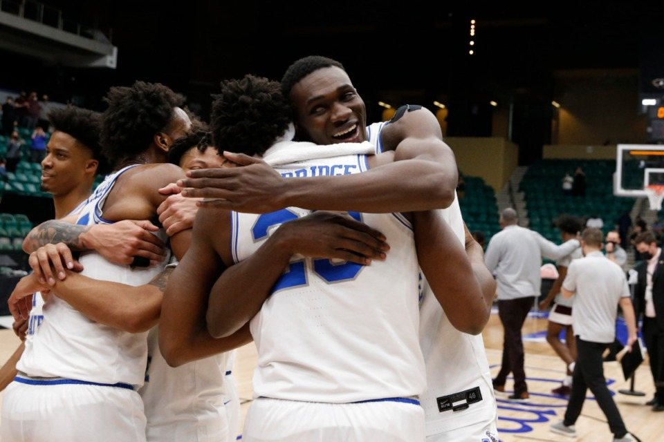 <strong>Tigers players rejoice after winning the NIT basketball championship Sunday, March 28, 2021.</strong> (Courtesy NCAA)