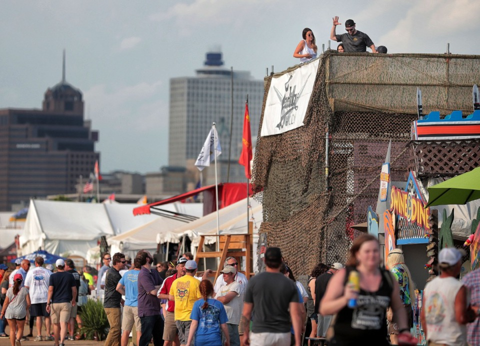 <strong>Barbecue fans and cooking teams started to party on the first day of the 2019 Memphis in May World Championship Barbecue Cooking Contest at Tom Lee Park.</strong> (Jim Weber/Daily Memphian file)