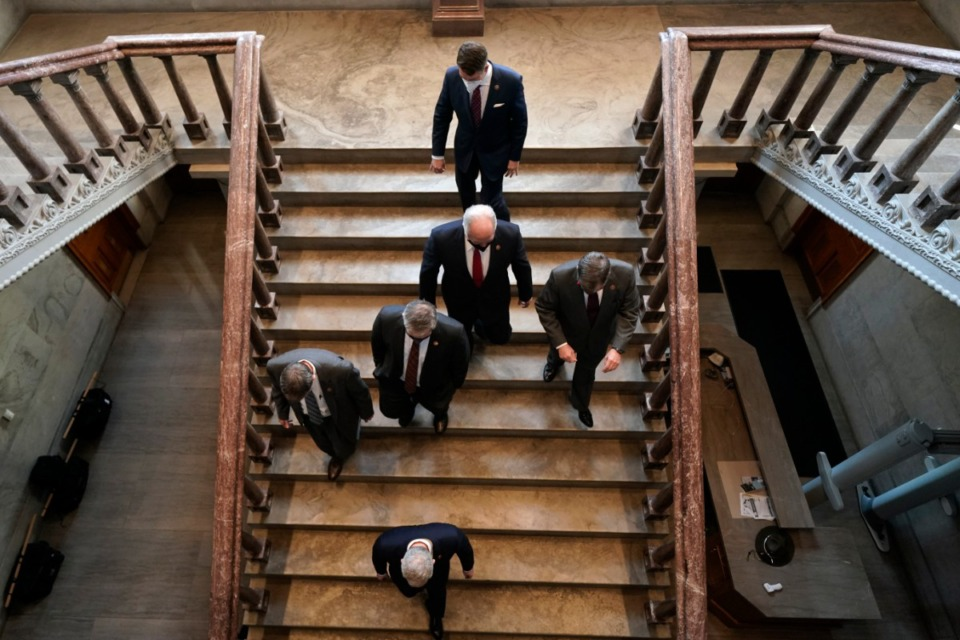 <strong>Legislators leave the floor of the Legislature in Nashville on Jan. 12. Republican lawmakers in the supermajority have sent a bill allowing permitless handgun carry to Gov. Bill Lee.</strong> (Mark Humphrey/AP file)
