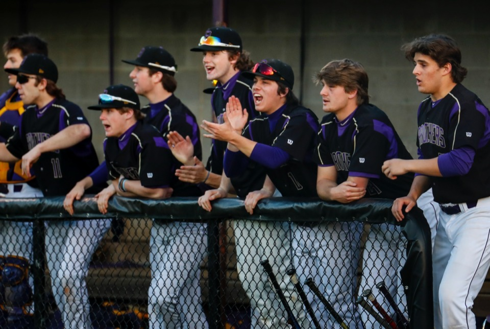 <strong>CBHS players celebrate a hit against MUS on Monday, March 29.</strong> (Mark Weber/The Daily Memphian)