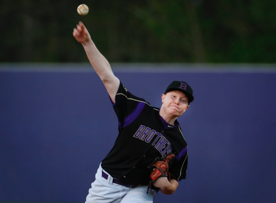 <strong>CBHS starting pitcher Samuel Brumbaugh makes a throw to home plate during action against MUS on March 29.</strong> (Mark Weber/The Daily Memphian)