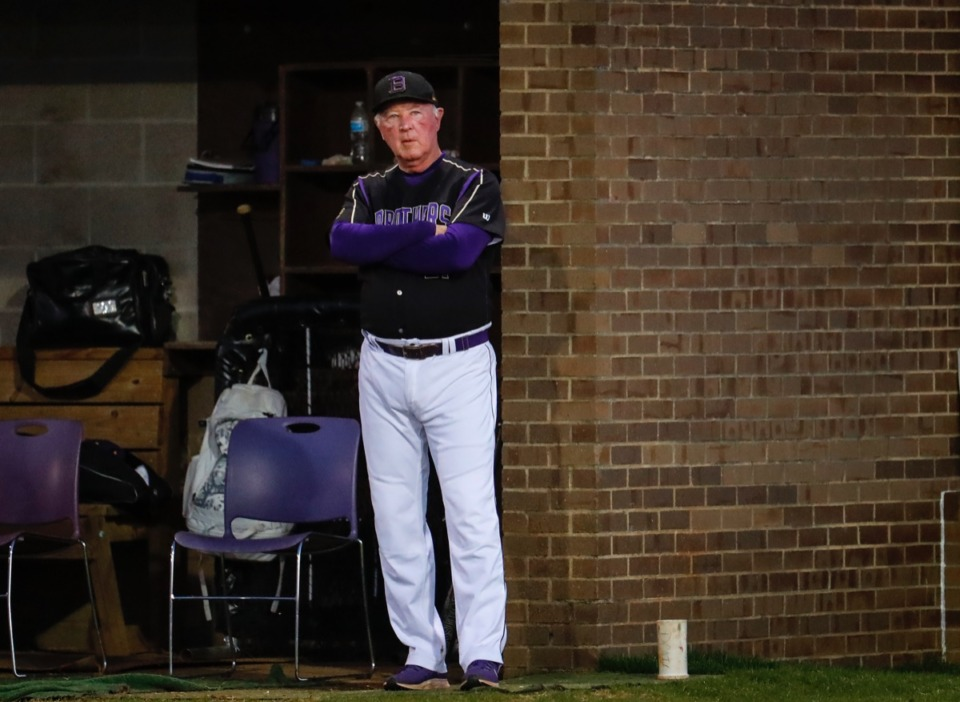 <strong>CBHS head coach Buster Kelso takes in the action against MUS on March 29.</strong> (Mark Weber/The Daily Memphian)
