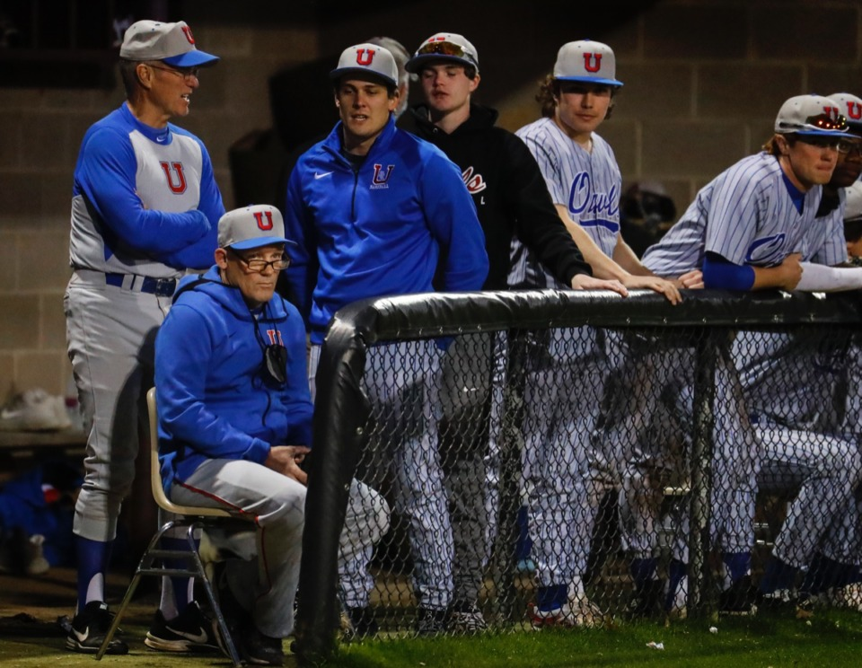 <strong>MUS assistant coach Kyle Finney (bottom left) takes in the action against CBHS on March 29.</strong> (Mark Weber/The Daily Memphian)