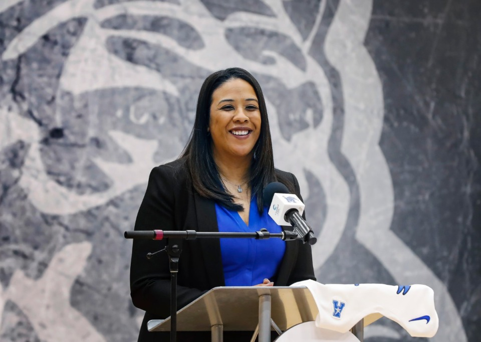 <strong>New University of Memphis women&rsquo;s basketball head coach Katrina Merriweather is introduced during a press conference on Tuesday, March 30, at the Elma Roane Fieldhouse.</strong> (Mark Weber/Daily Memphian)
